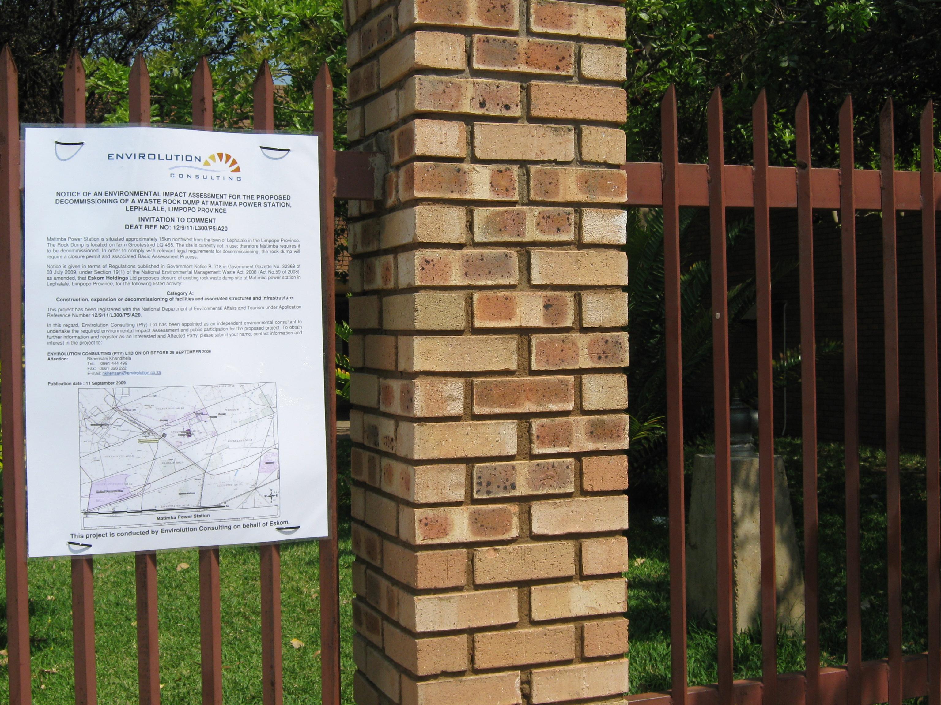 Matimba Ps Rock Waste Dump Closure P5 Electricitypage2 Appendix D2 Site Notice 2